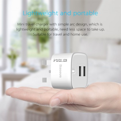 Baseus High-quality 2.4A Dual USB Travel Charger UK Plug for iPhone Huawei HTC