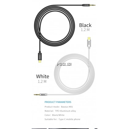 Baseus Original USB Type C Male Aux Audio Cable to 3.5mm Jack Male Speaker Cable For Headphone Headset Aux Cord For Xiaomi Huawei Samsung