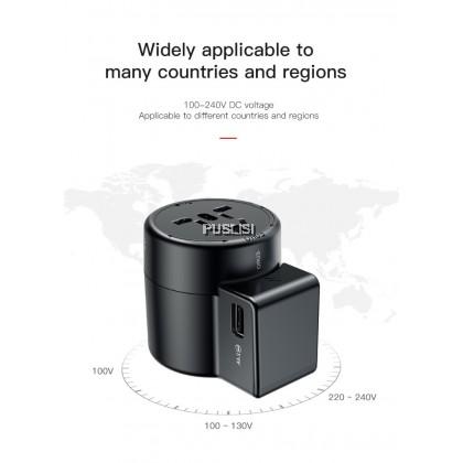 Baseus Travel Adapter Traveller Dual USB Charger Converter for EU US UK AU 2.4A