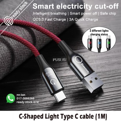 BASEUS Original Type-C QC3 Auto Cut Fast Charging 3A Cable For Android Samsung Huawei Oppo Vivo