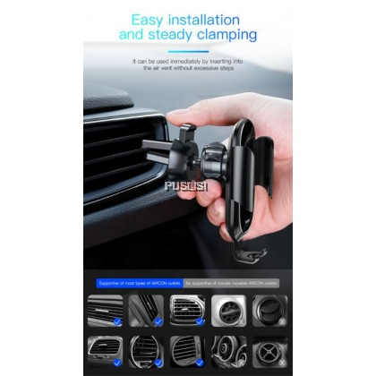 BASEUS Future Series Glass Surface Gravity Car Air Vent Mount Holder for iPhone Samsung