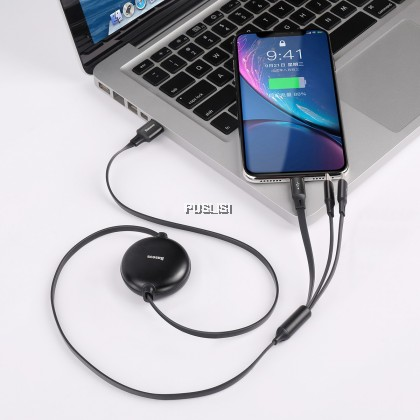 Baseus 3 in 1 Retractable Lightning Micro Type C USB Cable Charger 3in1 Charging Cable for iPhone X XS Samsung Oppo Huawei