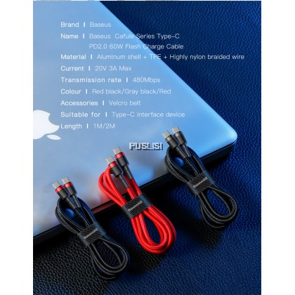 Baseus Original USB Type C to USB C Cable PD 60W 3A Fast Charger Cable for Samsung Ipad Mackbook