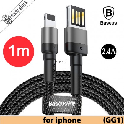 Baseus USB Cable For Lightning Apple IOS Iphone X Thin Double-sided High Quality SR Full Protection 2.4A 100CM 1m Cafule Special Edition iP Xs Max Xr 8 7 6 6s Plus