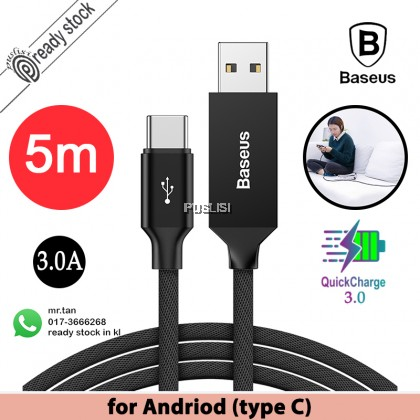 Baseus Long Cable USB For Type C QC 3.0 5m dspeed Quick Charge xiaomi andriod huawei fast Artistic Striped 5 meters Extra samsung