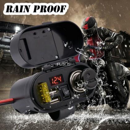 Waterproof 12V-24V Motorcycle Dual USB Charger Cigarette Lighter Handlebar Mount